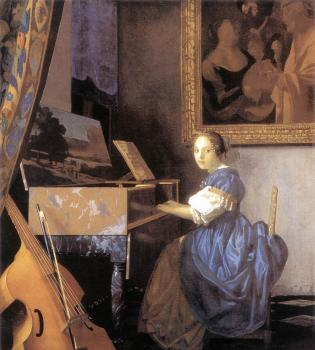 Johannes Vermeer : A Lady Seated at a Virginal